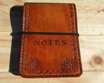 Personalized Leather Notebook book Cover Hand Made. Notepad Pocket Book.