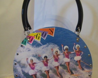 "Go Go's ""Vacation"" Vintage Vinyl Record Tote Purse Handbag Recycled Handmade 80's Pop Rock Music New Wave"