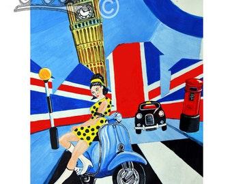 Swinging London, Scooter Art Print,Pop art style scooter gift, mod scooter.