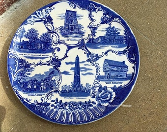 Antique Historical Jonroth Old English Staffordshire Ware Saratoga, New York Blue And White Plate - Free Shipping