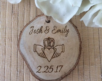 Personalized claddagh Ornament, engagement ornament, wedding claddagh, irish wedding ornament, claddagh wedding gift, irish engagement gift