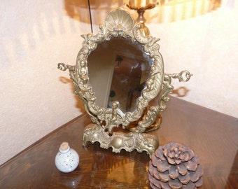 Vintage French mirror former putti