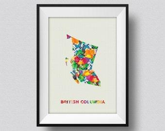 British Columbia Watercolor Map Art Print, British Columbia Ink Splash Poster Art Print, British Columbia Canada Watercolor Map Print