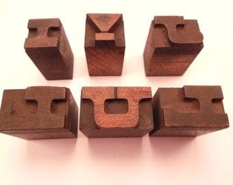 "Vintage Lot (6 Blocks) of Wood Letters Printer's Block 1/2"" Tall"