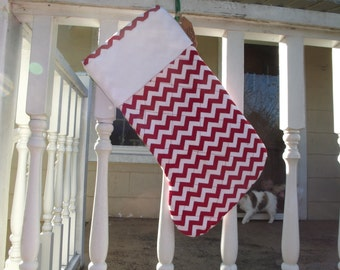 Red and white chevron quilted stocking