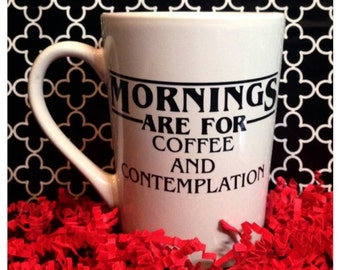 Stranger Things Coffee Mug, Morning Are For Coffee & Contemplation, Personalized Vinyl Coffee Mugs, Netflix's Stranger Things Coffee Mug