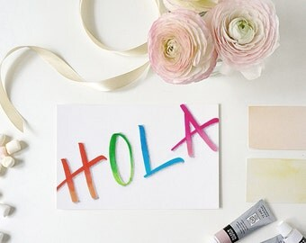 hola greeting card   spanish   hello   tarjeta de hola   card just to say hi in spanish