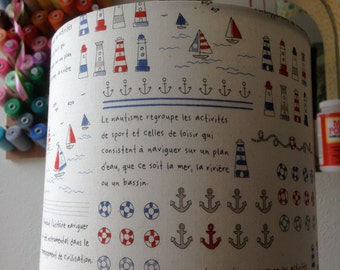 Handmade nautical lampshade in a vintage french print