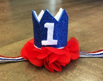 red white and blue birthday crown, 4th of july birthday crown