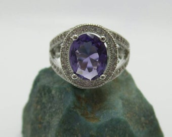 Tanzanite Sterling Silver Ring, size 7.