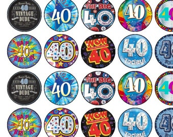 30 Assorted 40th Birthday Male/Female Premium Rice Paper Cup Cake Toppers