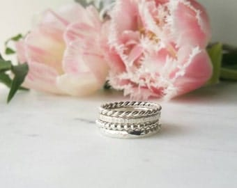 Sterling silver rings. Stackable ring set. set of 4 rings. Ring stack. Statement rings