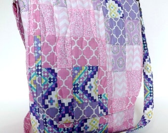 Bargello Design Messenger Bag - Quilted Crossbody Bag - Medium Size