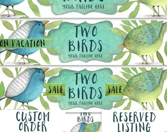 Premade Etsy shop banner set new size cover photo modern watercolor birds blue green teal