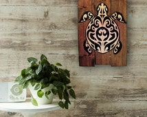 Wood Wall Art, Hawaiian Sea Turtle on Wood, Home Decor, Rustic Art, Handmade, Unique Wall Art, Wall Art, Wood Sign, Hawaiian Art