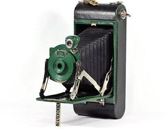 Vintage No. 1A Pocket Kodak Jr. Folding Camera / Kodak Bellows Camera / Green Kodak Jr. Pocket Camera / Kodak Folding Pocket Camera