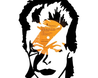 David Bowie / Ziggy Stardust silhouette vinyl record art. On a replica Ziggy Stardust and the Spiders from Mars Album