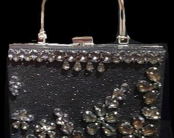 New  Silver With Black Rhinestone  & Clear Austrian Floral Crystal  -Hard Shell  Silver Handle Evening Handbag