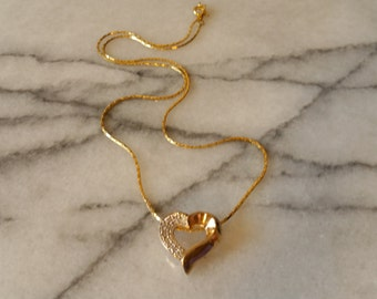 Vintage Sterling Silver with Gold Overlay Heart Pendant and Necklace, Valentines
