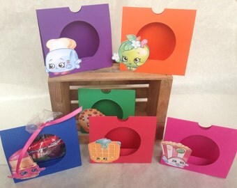 Just 6 Shopkins Party Favor Treat/Candy Holders (includes holders, ribbon, and clear bags)