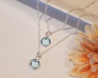 Layered Birthstone Necklace, Set of Two (2) Silver Necklaces, Personalized, Gift for Her, Girlfriend Gift, Mother's Day Gift [304]