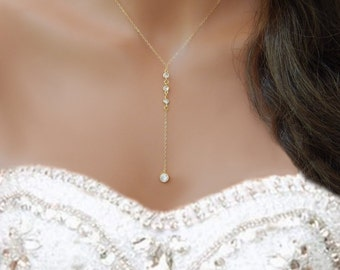 CZ Lariat Necklace, Diamond Bridal Necklace, Y Necklace, Gold or Silver, Wedding Necklace, Girlfriend Gift [508]