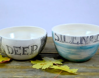 Pair of bowls decorated pottery