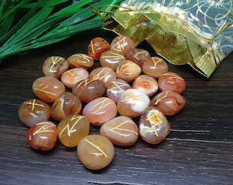 Carnelian Runes Set for reiki healing, complete with stylish pouch.