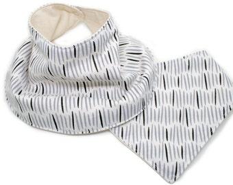 Organic baby bandana bib - grey strokes - bandana bib - absorbent organic cotton; baby bandana bib; baby bandana bibs; organic baby bibs