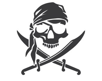 Skull and Crossbones Vinyl Decal Pirate Jolly Roger