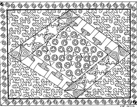 Puzzled Zentangle Coloring Page Digital Coloring Pdf Doodle