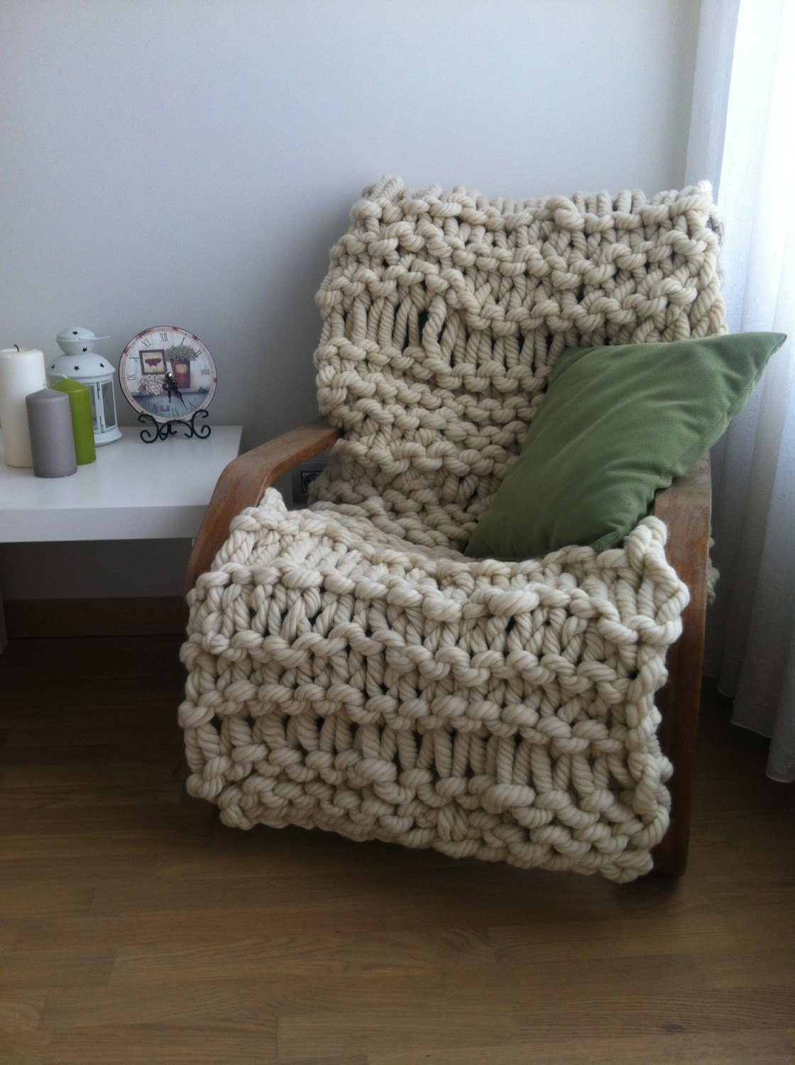 Super Chunky Knit Blanket Pattern : Super chunky knit blanket 24x59 by SimplyLifeHandmade on Etsy