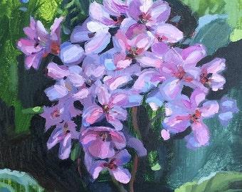 Purple Light (Original oil painting, purple spring flowers)