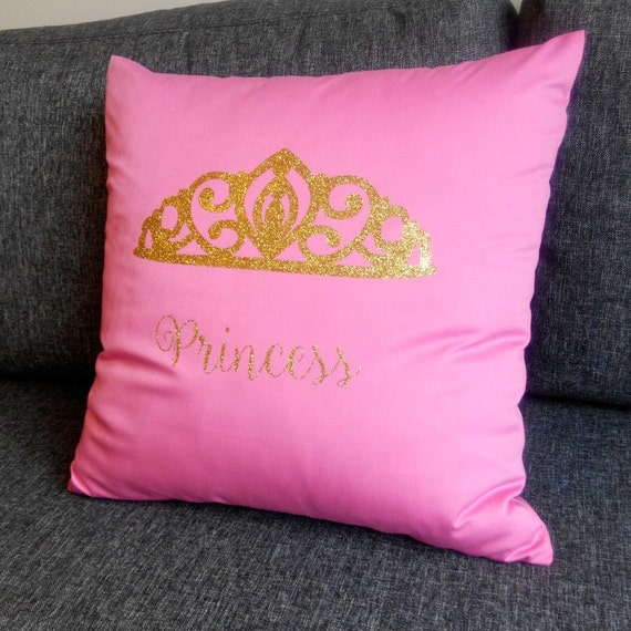 Gold Crown Throw Pillow : gold throw pillow princess crown glitter by GlitterFitter on Etsy