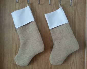 BLANK Burlap Christmas Stocking made in the USA