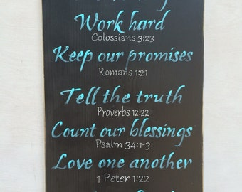 Family Values with Bible verses/ rustic wood sign/ family rules