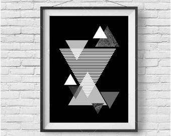 Black & White Art, Geometric Print, Triangle Print, Printable Artwork, Scandinavian Art, Black White Home Decor, Wall Art, Wall Decor