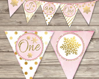 Banner Set SnowFlake Winter Onederland High Chair Banner Happy Birthday First Birthday Pink Gold Glitter Theme Party girl I am One