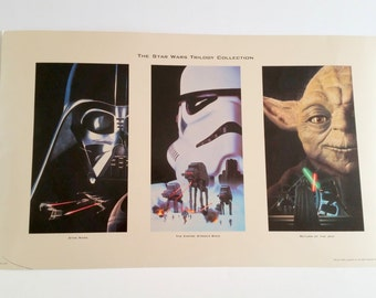 "Vintage ""The Star Wars Trilogy Collection"" Poster  / Empire Strikes Back / Return Of The Jedi  / Wall Photo Display"