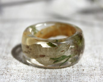 Real birch bark ring. Natural dry flowers ring. Ring with birch bark and dry flowers. Ring epoxy resin.