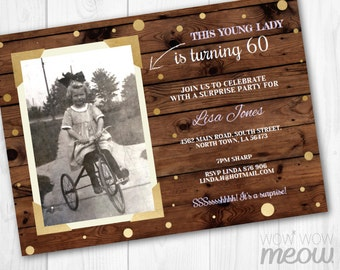 Birthday Photo Invite Surprise Party Invitation INSTANT DOWNLOAD Mens Womens 30th 40th 50th 60th Rustic Frame Personalize Editable Printable