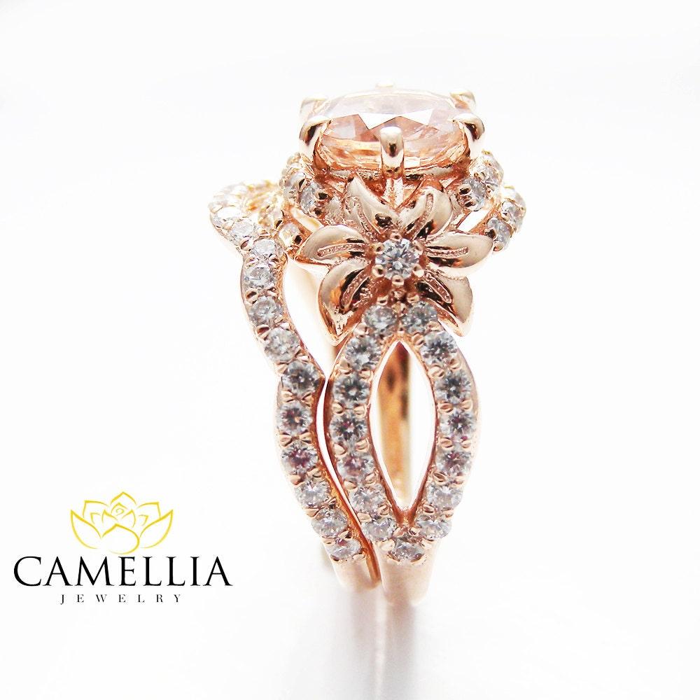rose gold diamond bridal ring set unique morganite bridal ring. Black Bedroom Furniture Sets. Home Design Ideas