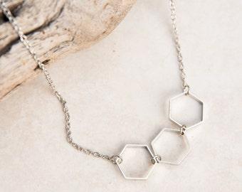 Silver Hexagon Necklace, edgy necklace, geometric jewelry, minimalist necklace, everyday necklace, honeycomb jewlery, simple jewelry