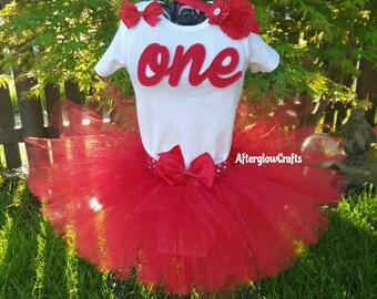 Red First Birthday Tutu,  Red Tutu, Red Baby Birthday Tutu,  Red Birthday Tutu, Red 1st Birthday Tutu, Red Tutu Outfit,  Red Birthday Outfit