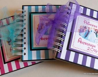 PERSONALIZED Disney Princess Autograph Book Scrapbook Pick your color Travel Journal Vacation Photo Album