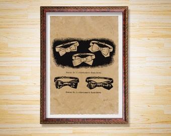 Bow tie print Gentleman art poster Vintage decor