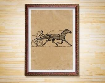 Antique decor Racing Horse art print Animal poster