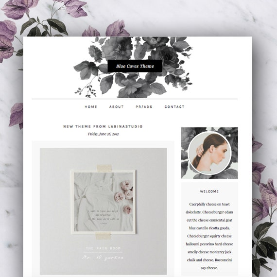 SALE Responsive Premade Blogger Template - Blue Caves