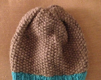 Blue and grey beanie