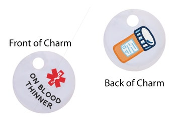 On Blood Thinner Medical Alert Key Ring Charm,Medical ID, Medic Alert, Warfarin, Heart Condition,64